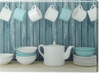 Ceramic kitchenware on the shelf. Canvas Print