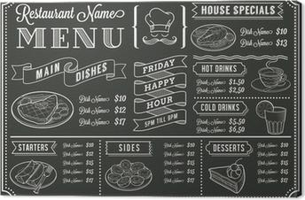Chalkboard Restaurant Menu Template Canvas Print