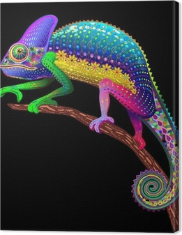 Chameleon Fantasy Rainbow Colors Canvas Print