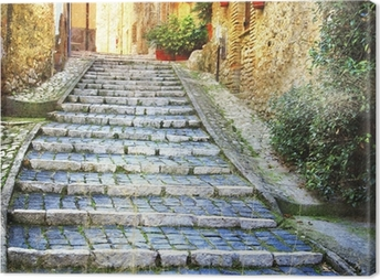 charming old streets of medieval villages of Italy Canvas Print