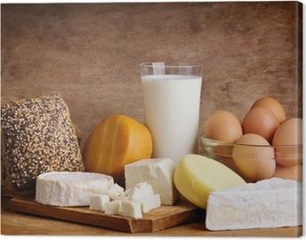 cheese, bread, milk and eggs Canvas Print