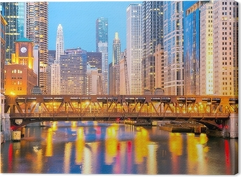 Chicago downtown and River Canvas Print