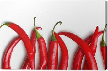chili peppers on white background Canvas Print