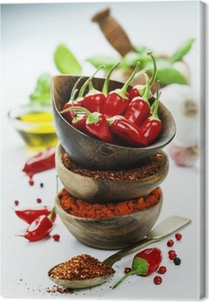 chili peppers with herbs and spices Canvas Print