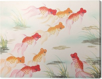 Chinese goldfish painting Canvas Print