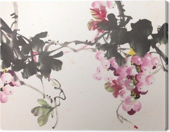Chinese ink grape drawing Canvas Print
