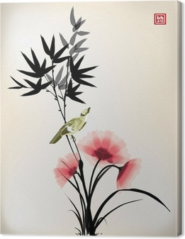 Chinese ink style flower bird drawing Canvas Print