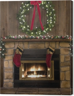 Christmas Fireplace Hearth with Wreath and Stockings Canvas Print