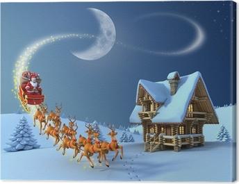 Christmas night scene - Santa Claus rides reindeer sleigh Canvas Print