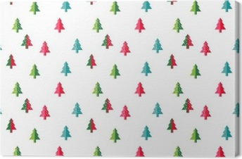 Christmas tree Seamless pattern for new year greeting card/wallpaper background. Vector Illustration. fir tree symbol. Canvas Print