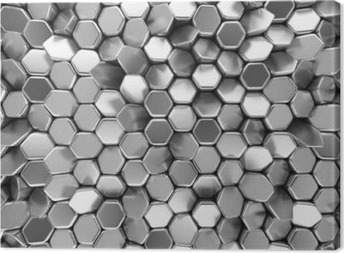 Chrome abstract hexagons backdrop. 3d rendering geometric polygons Canvas Print