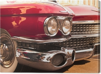 chrome radiator grill of red american classic car Canvas Print