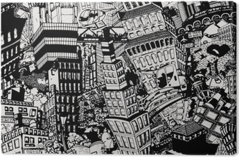 City, an illustration of a large collage, with houses, cars and people Canvas Print