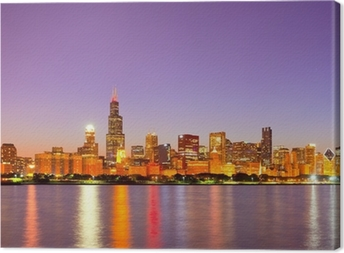 City of Chicago USA, sunset colorful panorama skyline Canvas Print