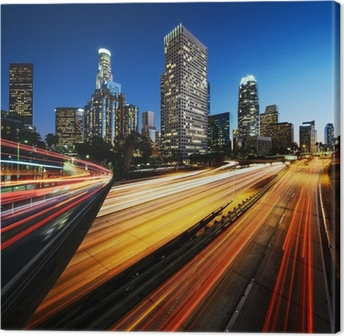 City of Los Angeles California at sunset with light trails Canvas Print
