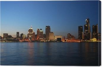 City skyline at night - Detroit, Michigan Canvas Print