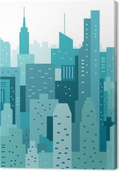 Cityscape geometric vector illustration. Cityline. City Landscape Canvas Print