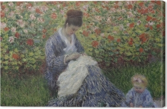 Claude Monet - Camille Monet with a Child in the Painter's Garden at Argenteuil Canvas Print