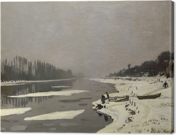 Claude Monet - Ice on the Seine at Bougival Canvas Print - Reproductions