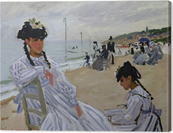 Claude Monet - On the Beach in Trouville Canvas Print - Reproductions