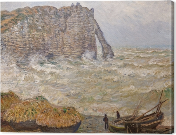 Claude Monet - Rough Sea at Étretat Canvas Print - Reproductions