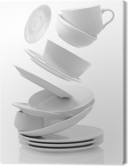 Clean empty plates and cups isolated on white Canvas Print