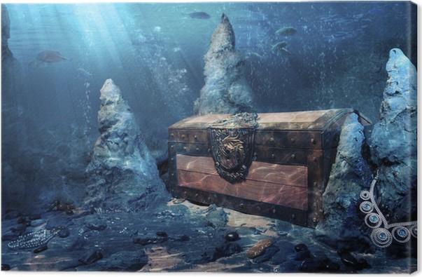 closed treasure chest underwater canvas print pixers we live to