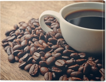 Coffee on grunge wooden background Canvas Print