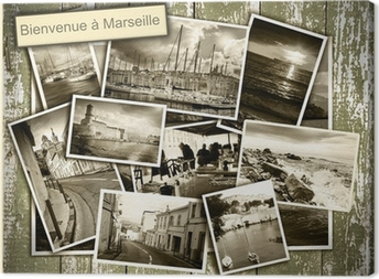 collage views of Marseille, black and white photos on a wooden b Canvas Print