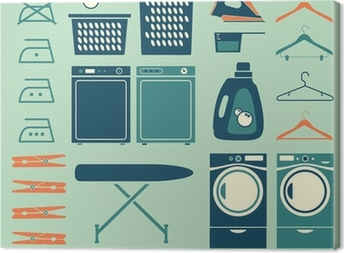 Collection of retro style laundry room symbols and icons Canvas Print