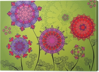 Colored mandala flowers on a green background Canvas Print