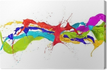 Colored paint splashes isolated on white background Canvas Print