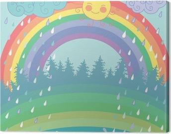 Colorful background with a rainbow, rain, sun in cartoon style Canvas Print