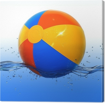 Colorful beach ball floating in water Canvas Print