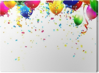 Colorful birthday balloons and confetti - vector background Canvas Print