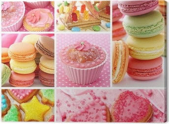 Colorful cakes collage Canvas Print