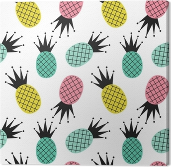 Colorful Cute Pineapples Seamless Vector Pattern Background Illustration Canvas Print