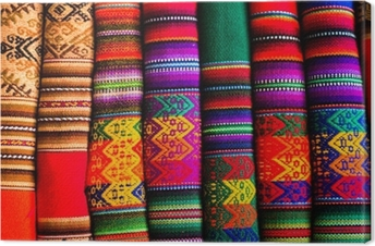 Colorful Fabric at market in Peru, South America Canvas Print