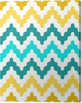 Colorful geometric seamless pattern in blue and yellow, vector Canvas Print