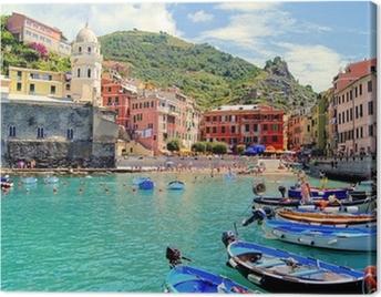 Colorful harbor at Vernazza, Cinque Terre, Italy Canvas Print
