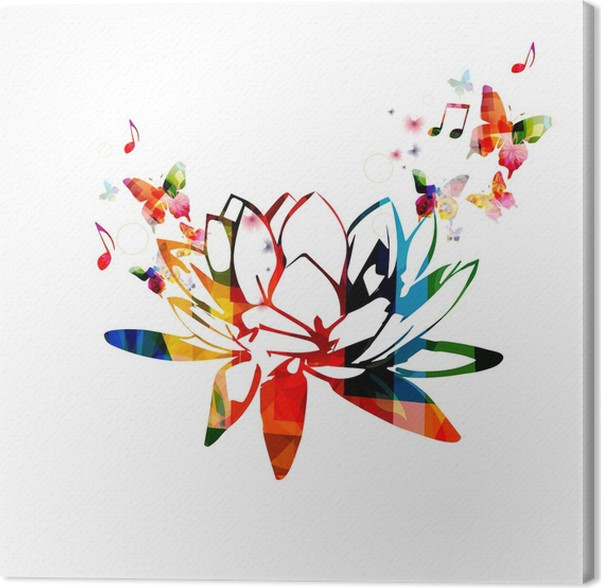 Colorful lotus flower design canvas print pixers we live to change colorful lotus flower design canvas print mightylinksfo