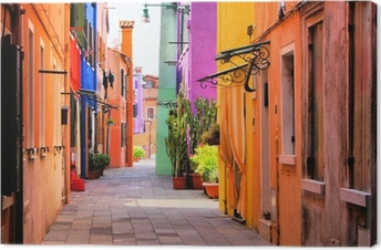 Colorful street in Italy Canvas Print