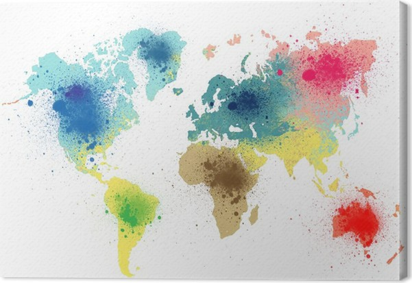 Colorful world map with paint splashes canvas print pixers we colorful world map with paint splashes canvas print art lifestyle gumiabroncs Choice Image