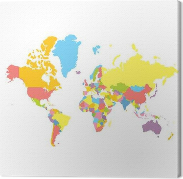 colorfull vector political world map on white background each country colored in different color flat style mercator projection canvas print