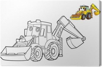 The Cartoon Digger Illustration For The Children Canvas Print