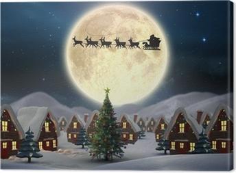 Composite image of cute christmas village Canvas Print