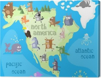 Concept design map of north american continent with animals drawing in funny cartoon style for kids and preschool education. Vector illustration Canvas Print