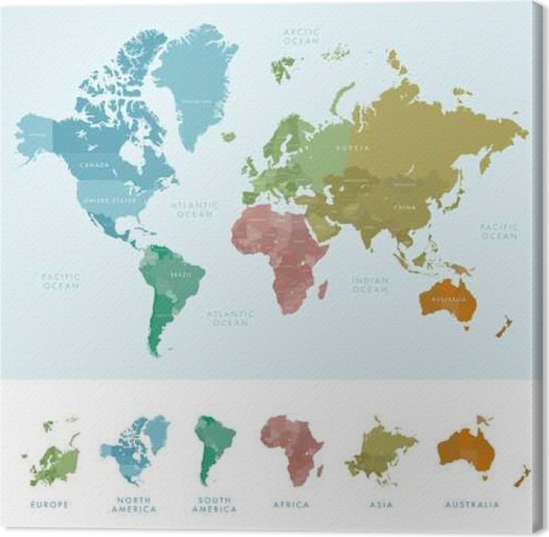 Continents and countries on the world map marked. Colored highly ...