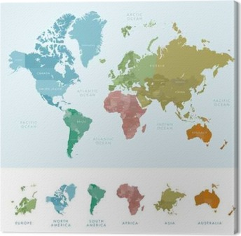 Continents and countries on the world map marked colored highly continents and countries on the world map marked colored highly detailed world map vector gumiabroncs Choice Image