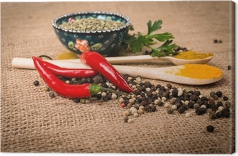Cooking ingredients, spice on a burlap Canvas Print